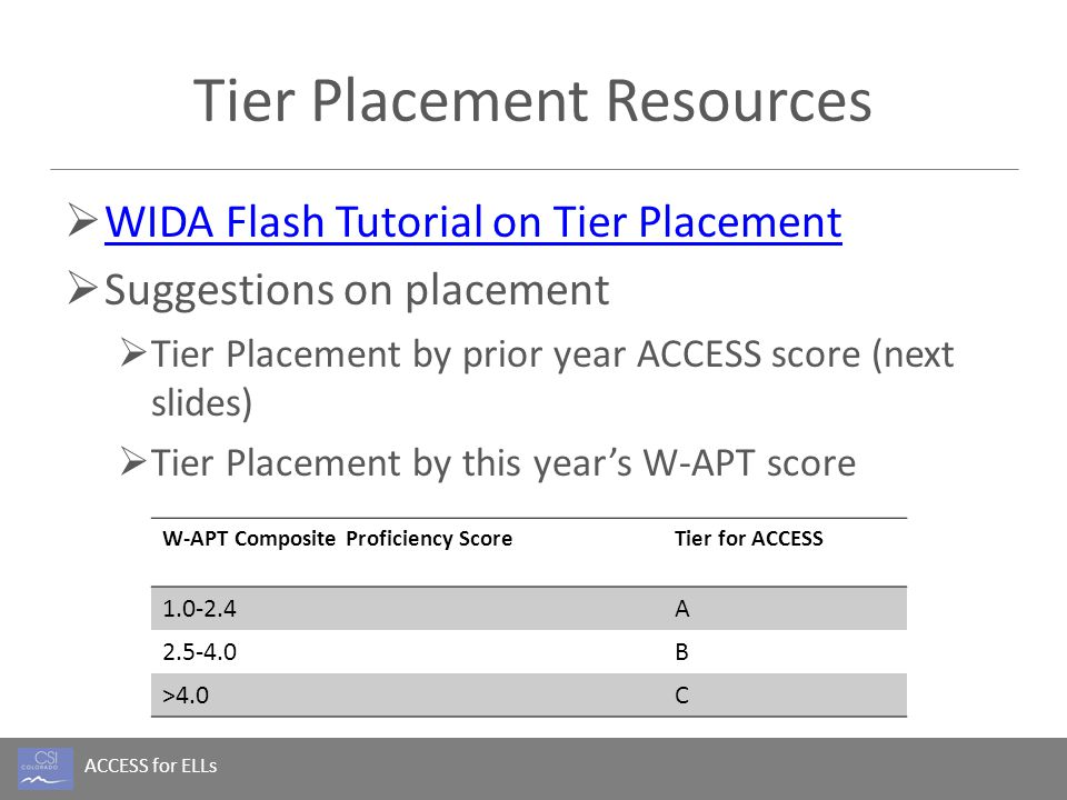 ACCESS for ELLs Tier Placement Resources  WIDA Flash Tutorial on Tier Placement WIDA Flash Tutorial on Tier Placement  Suggestions on placement  Ti