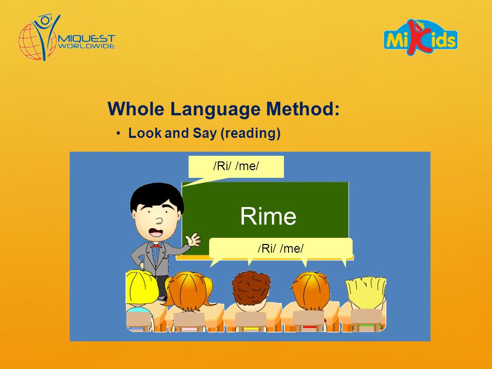 Look and Say (reading) /Ri/ /me/ Rime Whole Language Method: