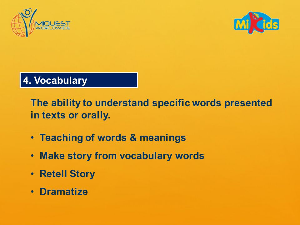 4. Vocabulary The ability to understand specific words presented in texts or orally.