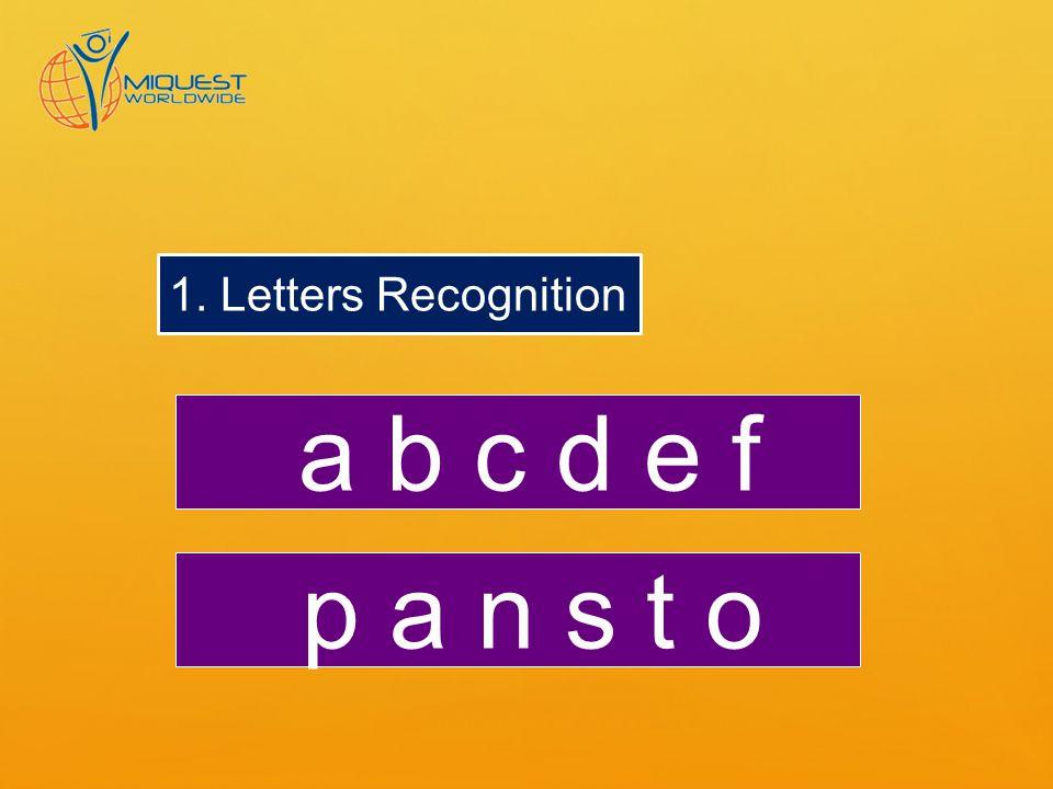 1. Letters Recognition a b c d e f p a n s t o