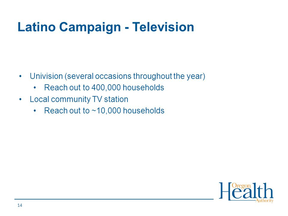 Latino Campaign - Television 14 Univision (several occasions throughout the year) Reach out to 400,000 households Local community TV station Reach out