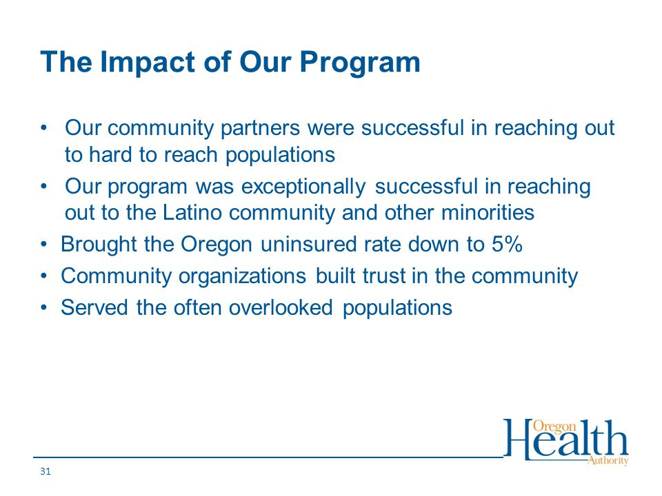 The Impact of Our Program Our community partners were successful in reaching out to hard to reach populations Our program was exceptionally successful