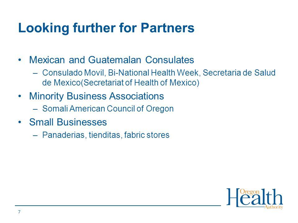 Looking further for Partners Mexican and Guatemalan Consulates –Consulado Movil, Bi-National Health Week, Secretaria de Salud de Mexico(Secretariat of