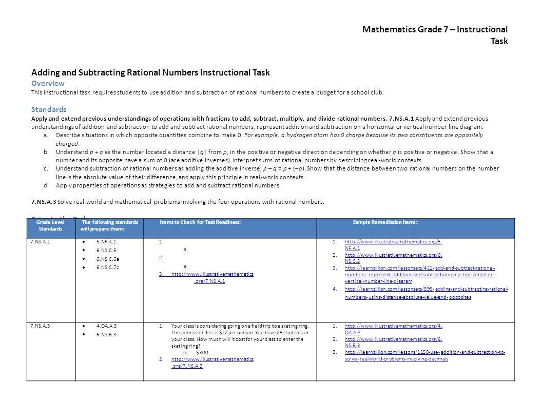 Mathematics Grade 7 – Instructional Task Adding and Subtracting Rational Numbers Instructional Task Overview This instructional task requires students