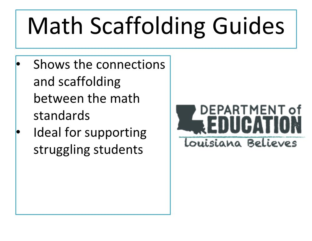 Math Scaffolding Guides Shows the connections and scaffolding between the math standards Ideal for supporting struggling students
