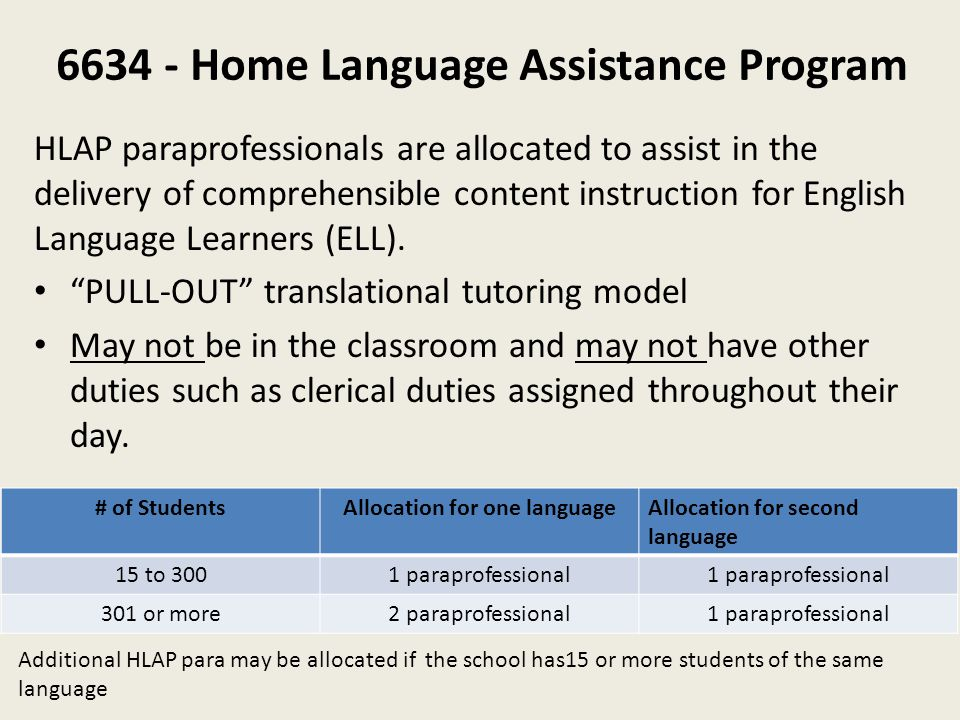 6634 - Home Language Assistance Program HLAP paraprofessionals are allocated to assist in the delivery of comprehensible content instruction for Engli