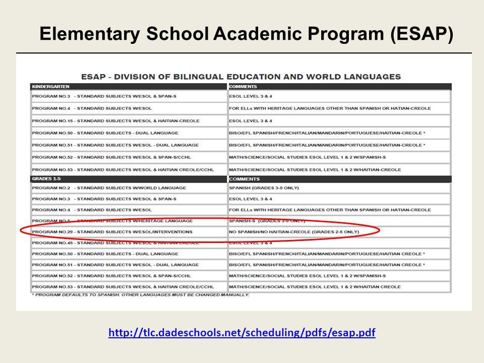 Elementary School Academic Program (ESAP) http://tlc.dadeschools.net/scheduling/pdfs/esap.pdf
