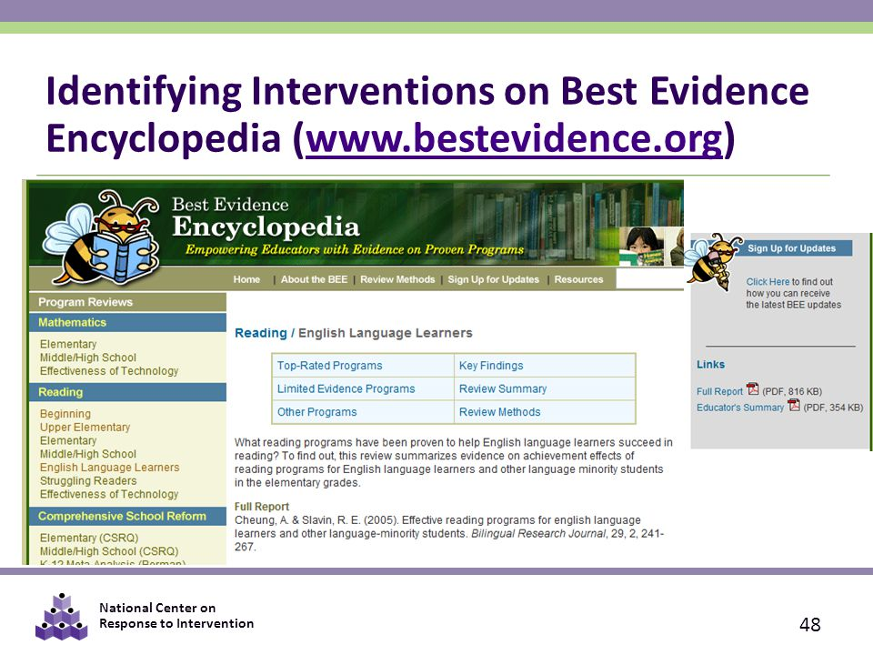 National Center on Response to Intervention Identifying Interventions on Best Evidence Encyclopedia (www.bestevidence.org)www.bestevidence.org 48