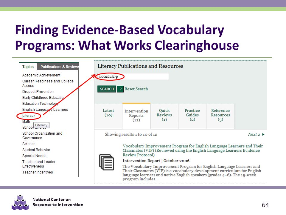 National Center on Response to Intervention Finding Evidence-Based Vocabulary Programs: What Works Clearinghouse 64