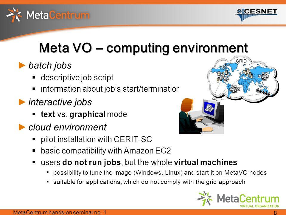 Meta VO – computing environment ►batch jobs  descriptive job script  information about job's start/termination ►interactive jobs  text vs.