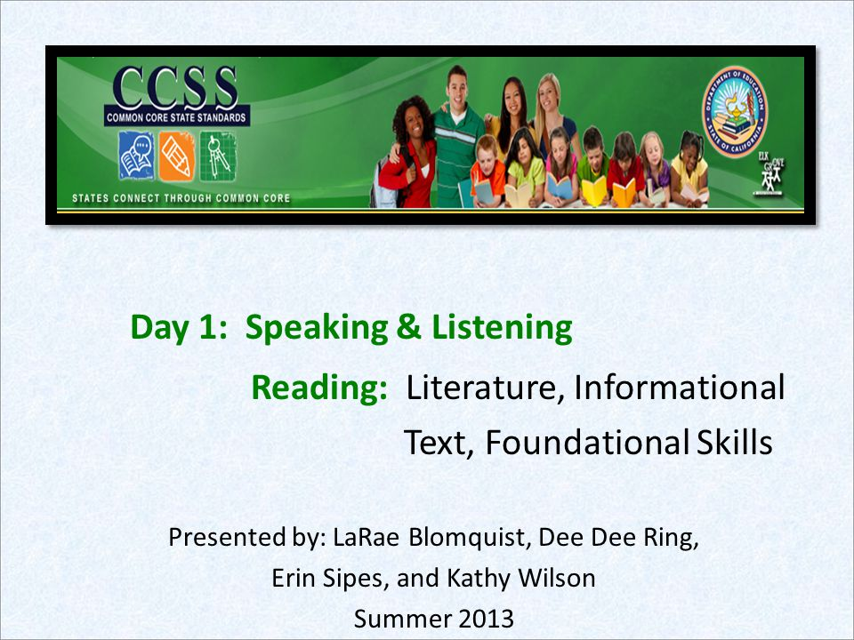 One Early Literacy CCSS Shift Simultaneous work of learning to read AND reading to make meaning +