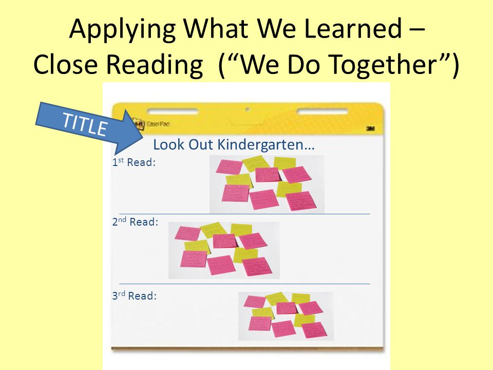 """Applying What We Learned – Close Reading (""""We Do Together"""") 1 st Read: 2 nd Read: 3 rd Read: TITLE Look Out Kindergarten…"""