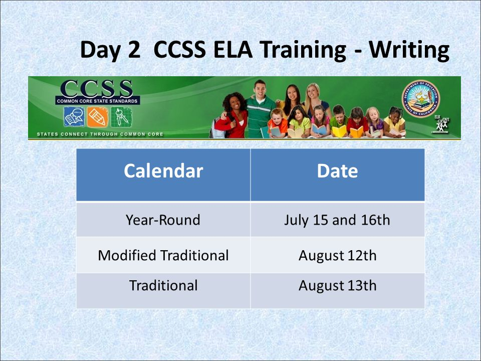Day 2 CCSS ELA Training - Writing CalendarDate Year-RoundJuly 15 and 16th Modified TraditionalAugust 12th TraditionalAugust 13th