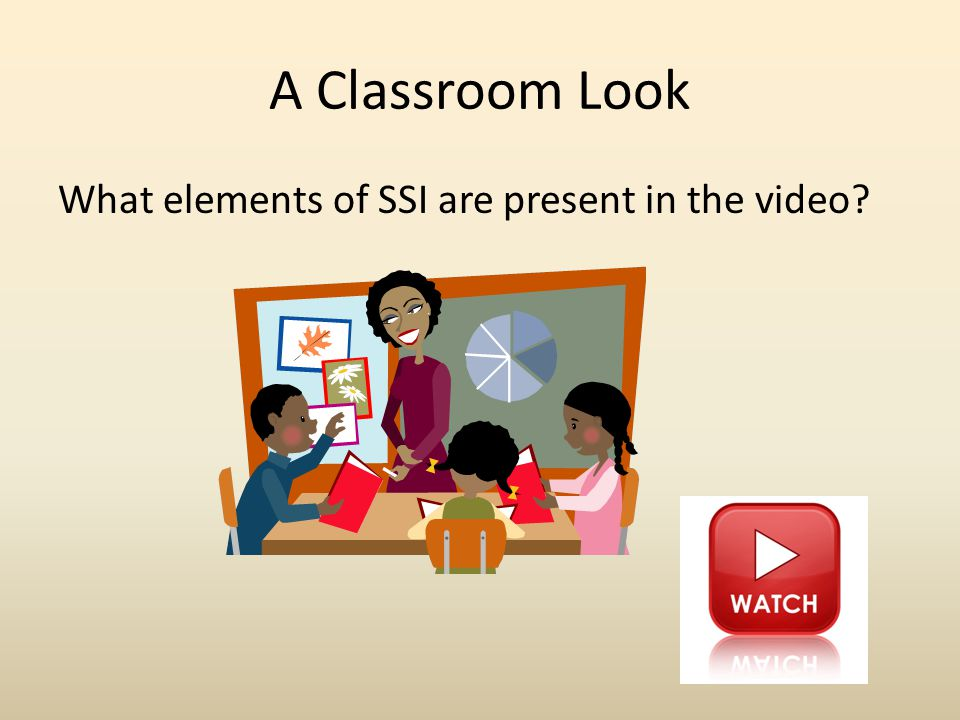 A Classroom Look What elements of SSI are present in the video?