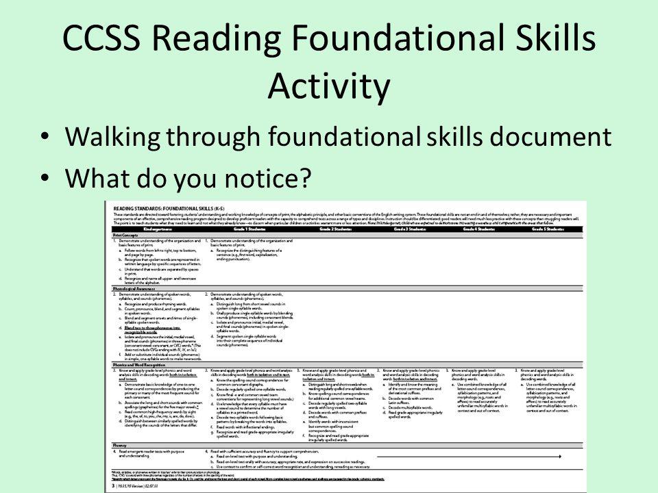 CCSS Reading Foundational Skills Activity Walking through foundational skills document What do you notice?