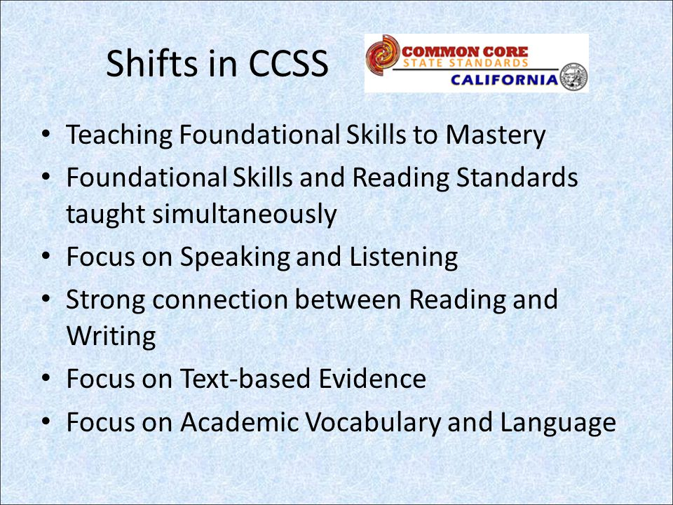 A Walk Through the Standards… Organization Strand (formerly known as domain ) K-56-12 Reading – Literature Reading – Informational Text Reading – Foundational Skills 1-10 1-4 1-10 NA Writing1-10 Speaking and Listening1-6 Language1-6