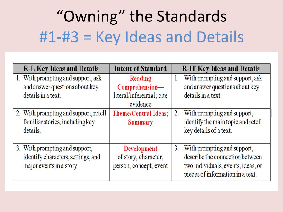 """""""Owning"""" the Standards #1-#3 = Key Ideas and Details"""