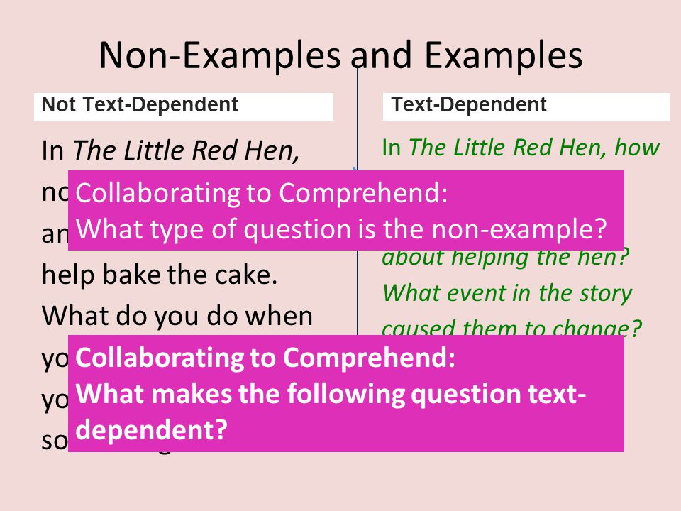 Non-Examples and Examples In The Little Red Hen, none of the other animals wanted to help bake the cake. What do you do when your mom asks for your he
