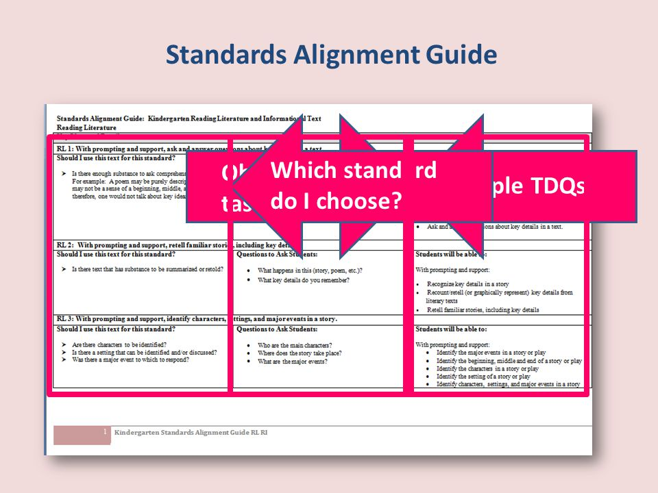 Standards Alignment Guide Objectives— task analysis Sample TDQs Which standard do I choose?
