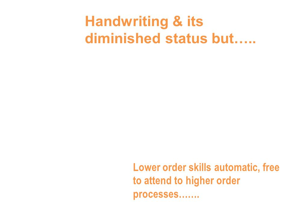 Handwriting & its diminished status but…..