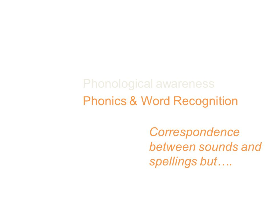 Reading Foundation Skills Print Concepts Phonological awareness Phonics & Word Recognition Fluency Correspondence between sounds and spellings but….