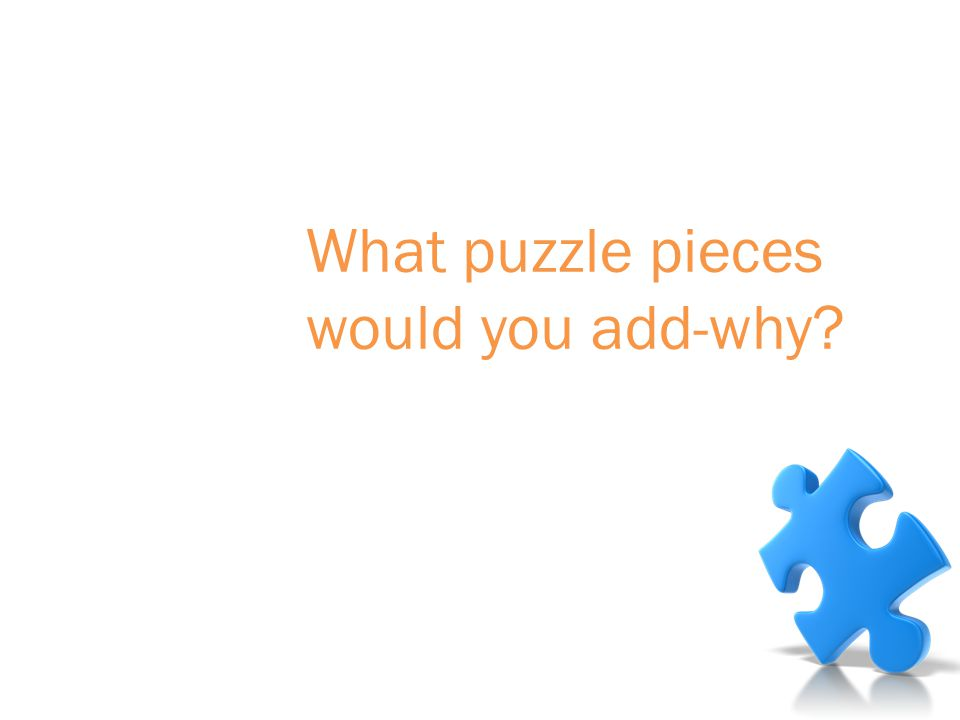 Debrief What puzzle pieces would you add-why