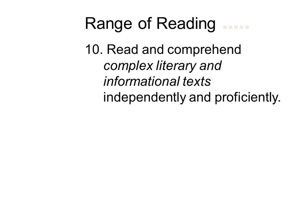 Range of Reading ….. 10.