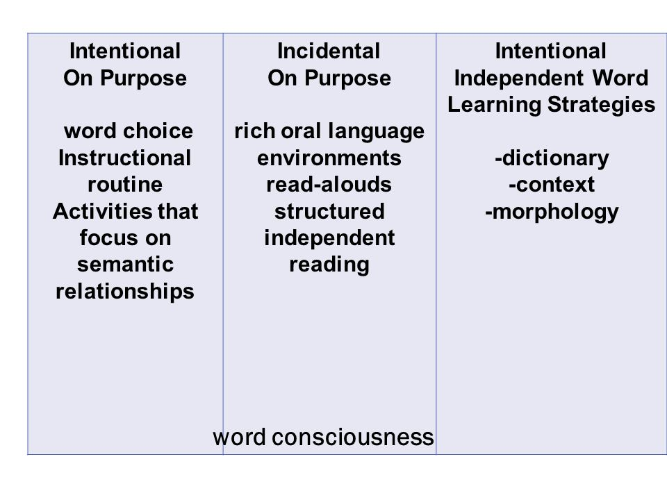 Intentional On Purpose word choice Instructional routine Activities that focus on semantic relationships Incidental On Purpose rich oral language environments read-alouds structured independent reading Intentional Independent Word Learning Strategies -dictionary -context -morphology word consciousness
