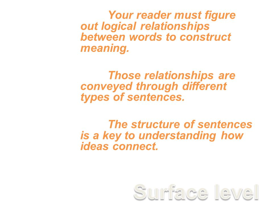Your reader must figure out logical relationships between words to construct meaning.