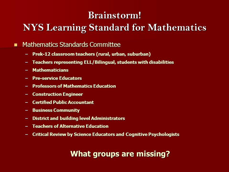 Brainstorm! NYS Learning Standard for Mathematics Mathematics Standards Committee Mathematics Standards Committee –Prek-12 classroom teachers (rural,