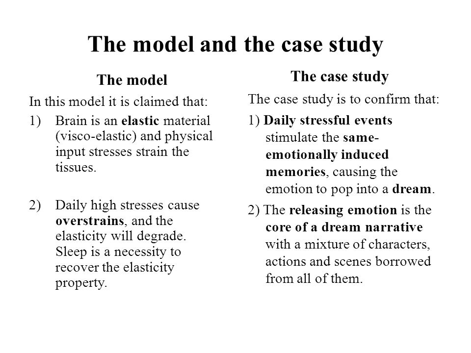 The model and the case study The model In this model it is claimed that: 1)Brain is an elastic material (visco-elastic) and physical input stresses strain the tissues.