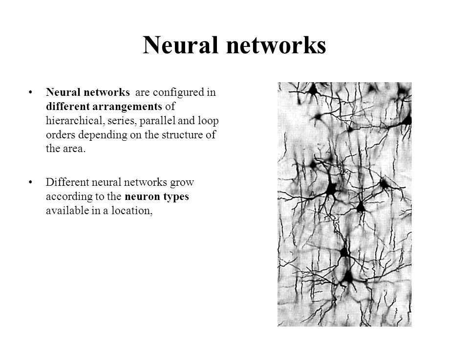 Neural networks Neural networks are configured in different arrangements of hierarchical, series, parallel and loop orders depending on the structure