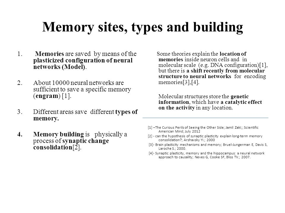 Memory sites, types and building 1. Memories are saved by means of the plasticized configuration of neural networks (Model). 2.About 10000 neural netw