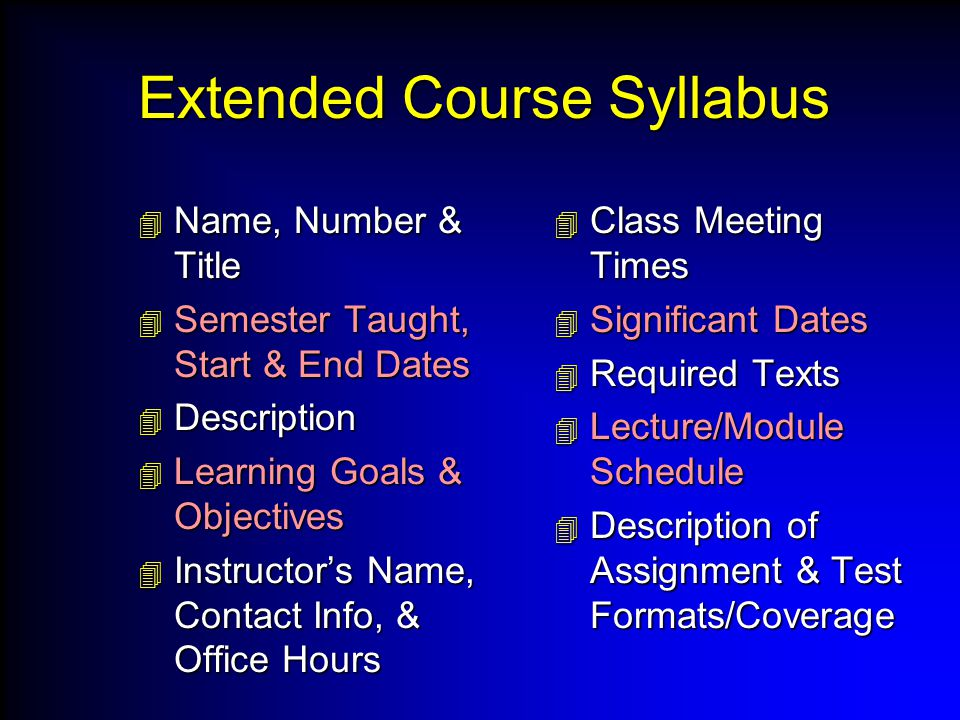 Extended Course Syllabus  Name, Number & Title  Semester Taught, Start & End Dates  Description  Learning Goals & Objectives  Instructor's Name, Contact Info, & Office Hours  Class Meeting Times  Significant Dates  Required Texts  Lecture/Module Schedule  Description of Assignment & Test Formats/Coverage