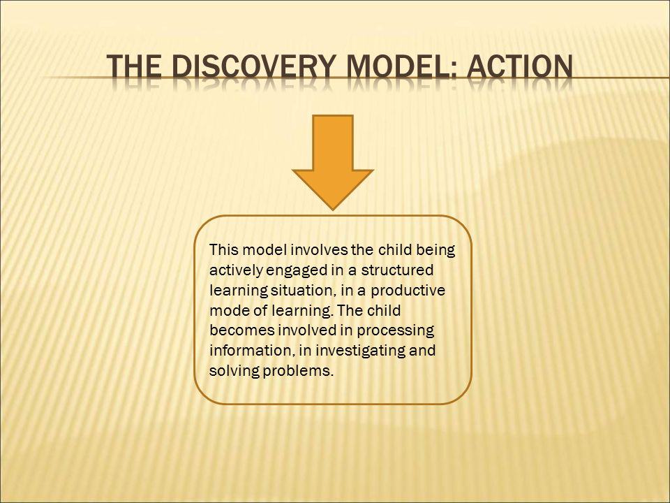 This model involves the child being actively engaged in a structured learning situation, in a productive mode of learning.