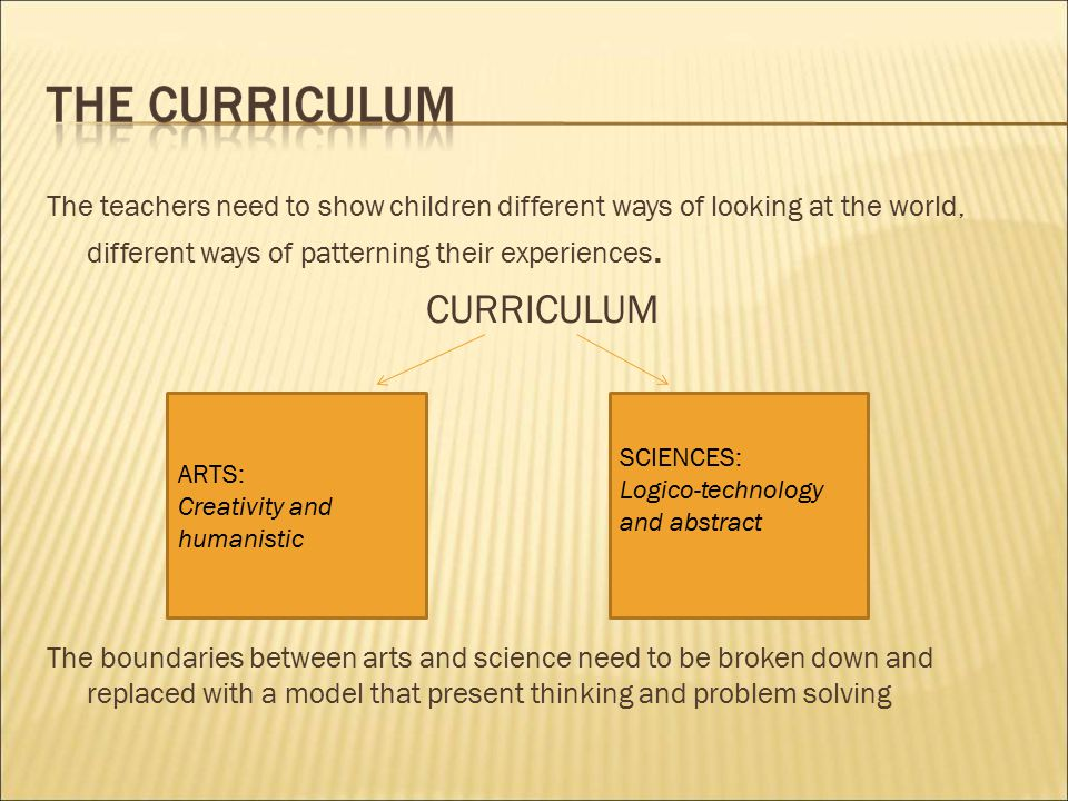 The teachers need to show children different ways of looking at the world, different ways of patterning their experiences.