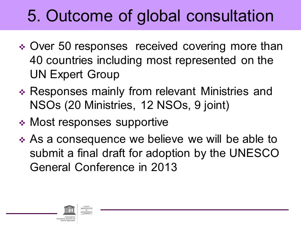 5. Outcome of global consultation  Over 50 responses received covering more than 40 countries including most represented on the UN Expert Group  Res