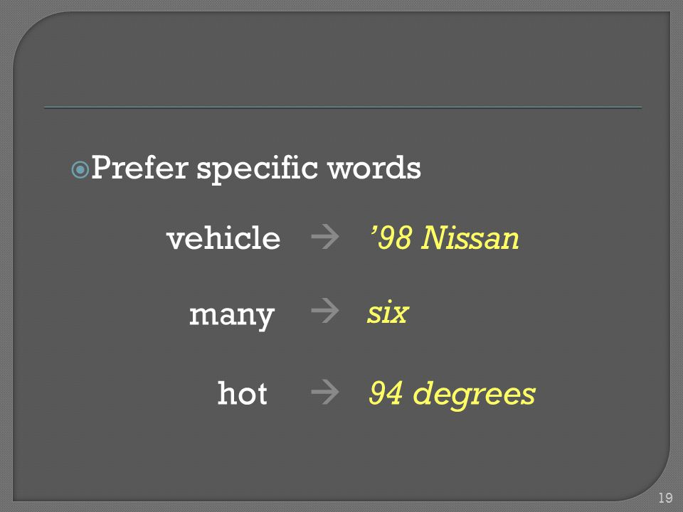  Prefer specific words vehicle  '98 Nissan many  six hot  94 degrees 19