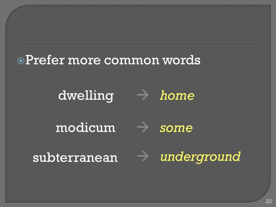  Prefer more common words dwelling  home modicum  some subterranean  underground 20