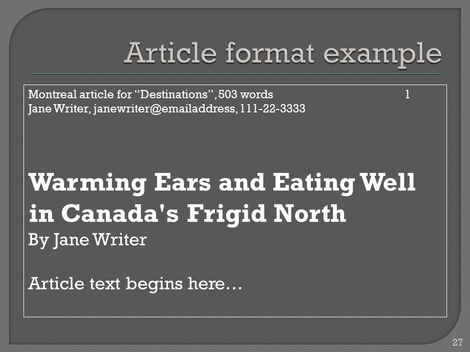 """Montreal article for """"Destinations"""", 503 words1 Jane Writer, janewriter@emailaddress, 111-22-3333 Warming Ears and Eating Well in Canada's Frigid Nort"""