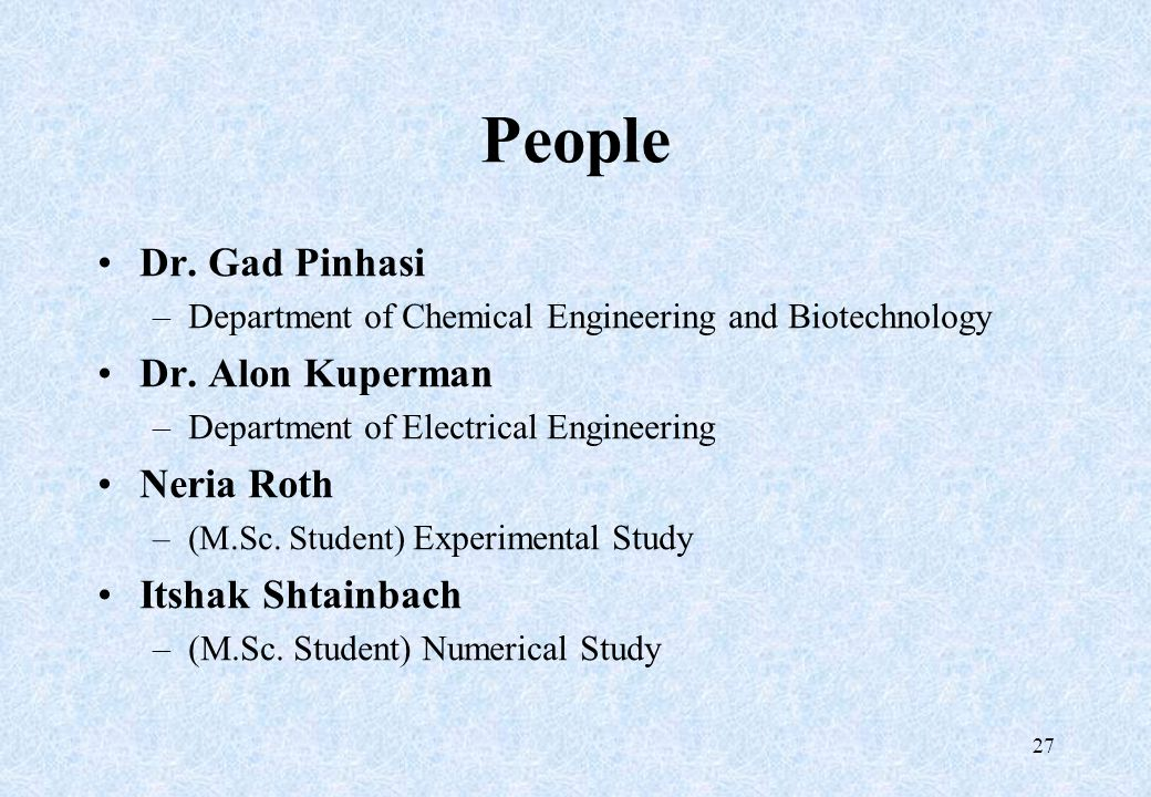 People Dr. Gad Pinhasi –Department of Chemical Engineering and Biotechnology Dr. Alon Kuperman –Department of Electrical Engineering Neria Roth –(M.Sc