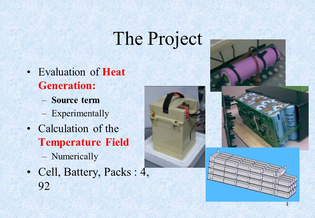 The Project Evaluation of Heat Generation: –Source term –Experimentally Calculation of the Temperature Field –Numerically Cell, Battery, Packs : 4, 92