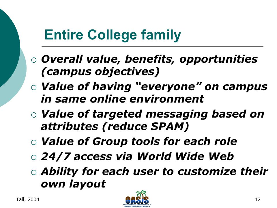 Fall, 200412 Entire College family  Overall value, benefits, opportunities (campus objectives)  Value of having everyone on campus in same online environment  Value of targeted messaging based on attributes (reduce SPAM)  Value of Group tools for each role  24/7 access via World Wide Web  Ability for each user to customize their own layout