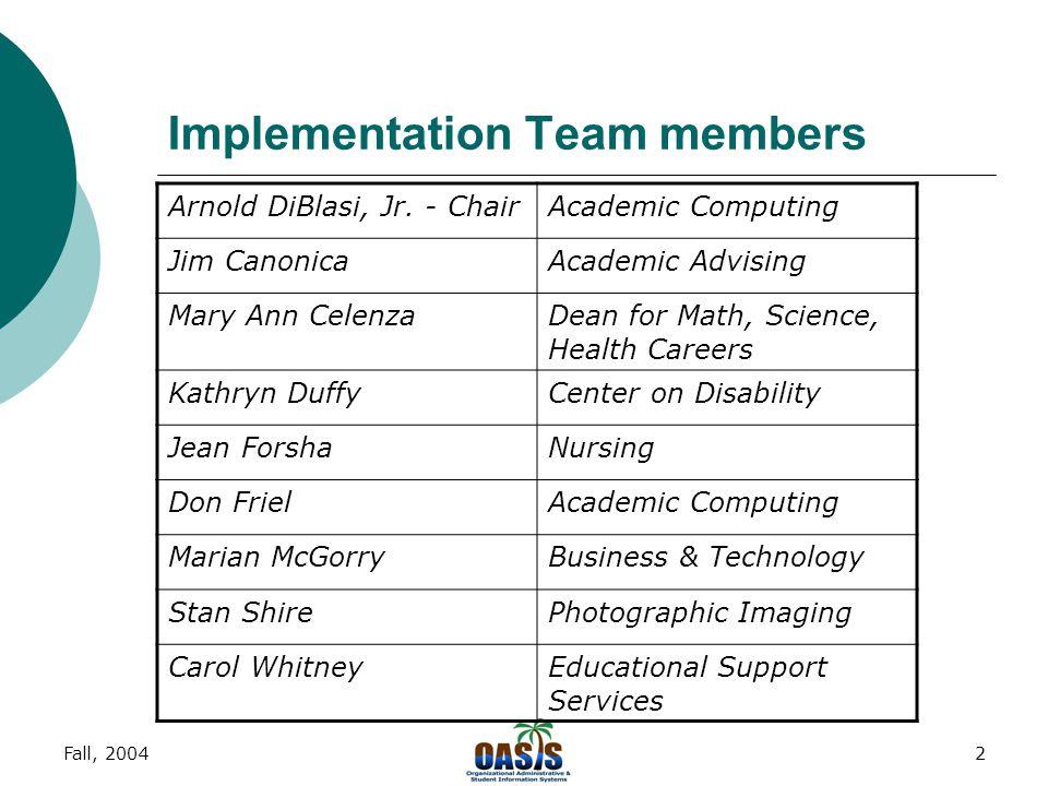 Fall, 20042 Implementation Team members Arnold DiBlasi, Jr.