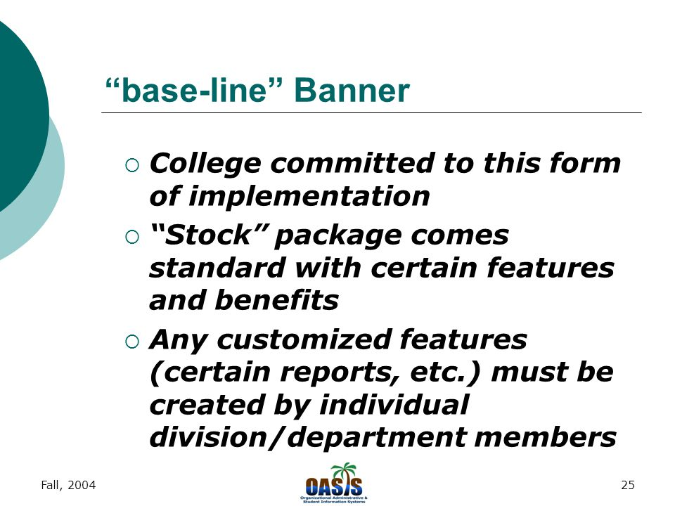 Fall, 200424 Life after Banner: Impact of Student System for Academic Affairs