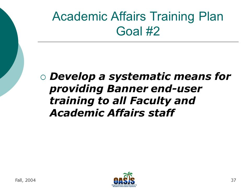 Fall, 200437 Academic Affairs Training Plan Goal #2  Develop a systematic means for providing Banner end-user training to all Faculty and Academic Affairs staff