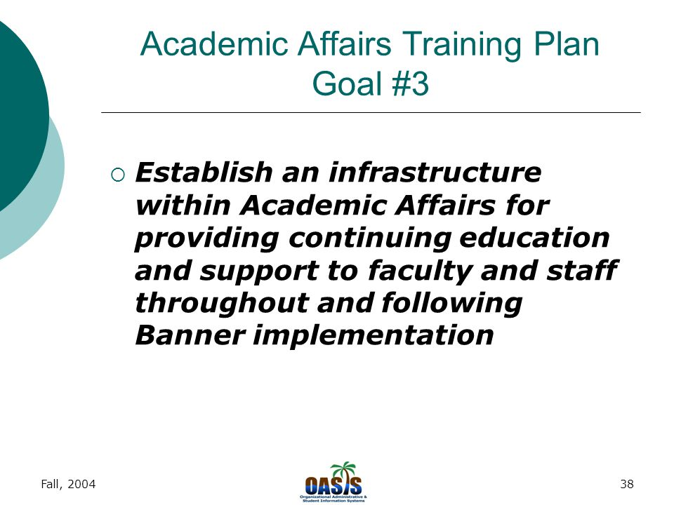 Fall, 200437 Academic Affairs Training Plan Goal #2  Develop a systematic means for providing Banner end-user training to all Faculty and Academic Af