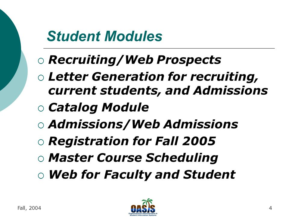 """Fall, 20043 Overview of Banner  Banner """"System"""" A system in Banner encompasses all modules that make up the application. Systems are Finance, HR/Payr"""