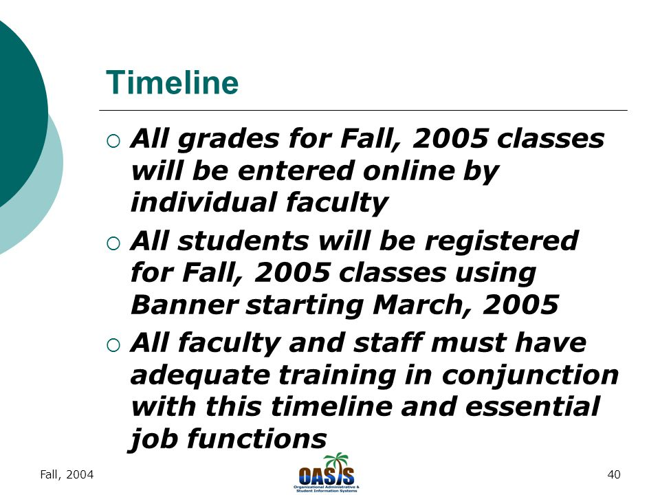 Fall, 200439 Communication  to staff e-mail; web site; print media upcoming training schedules; product info  from staff questions about product and services questions about training ideas and comments  e-mail all comments to adiblasi@ccp.edu