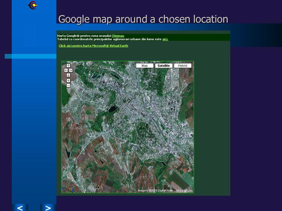 >< Google map around a chosen location